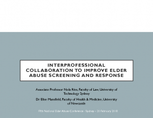 Riles, NolaInterprofessional collaboration to improve elder abuse screening and response