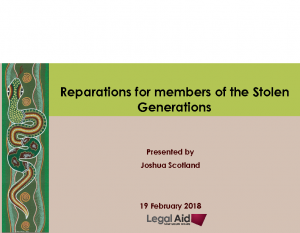 Scotland, JoshuaReparations for members of the Stolen Generations