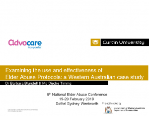 Timms, Diedre / Blundell, BarbaraExamining the use and effectiveness of elder abuse protocols: a Western Australian case study